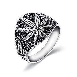 Retro Style Trendy Hemp Leaf Stainless Steel Men's Ring