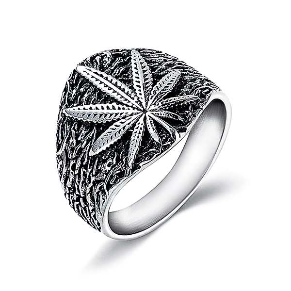 Retro Style Trendy Hemp Leaf Stainless Steel Men's Ring Featured Image