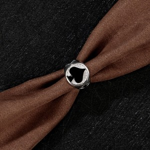 Men's Stainless Steel Ring Spade Ace Black Silver Vintage Jewelry