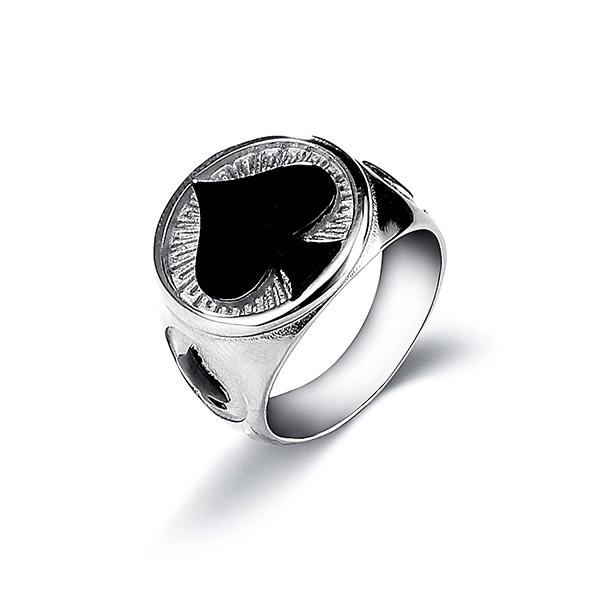 Men's Stainless Steel Ring Spade Ace Black Silver Vintage Jewelry Featured Image