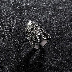 Mens Fashion Jewelry 316L Stainless Steel Rings For Men Biker Punk Cowboy Skull Ring