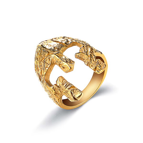 Factory High Quality Stainless Steel Simple Jawless Skull Ring Gold Plated Featured Image