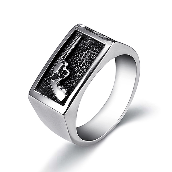 Fashion Stainless Steel Ring Men's Ring with Gun Pattern Featured Image