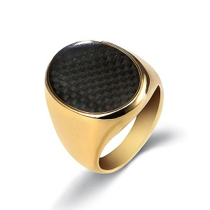 18K Gold Plated Rings for Men Stainless Steel Vintage Biker Signet
