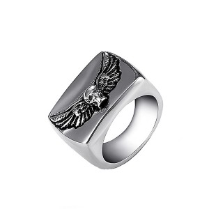 Men's Fashion Stainless Steel Ring Skull with Wings Rings for Men