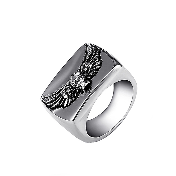 Men's Fashion Stainless Steel Ring Skull with Wings Rings for Men Featured Image