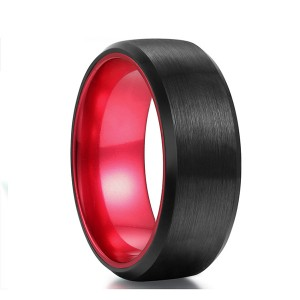 Classic Black Tungsten Ring with Red Plating Inside for Hot Sell
