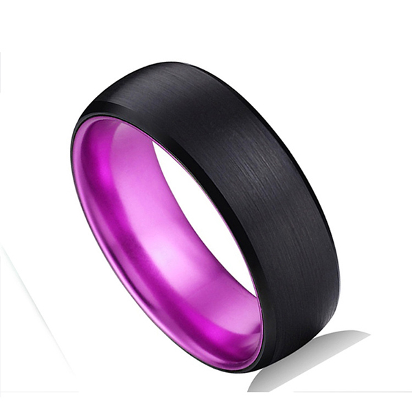 Discountable price Tungsten Carbide Rings Tc850 - Classic Black Tungsten Ring with Purple Plating Inside for Hot Sell  – Ouyuan