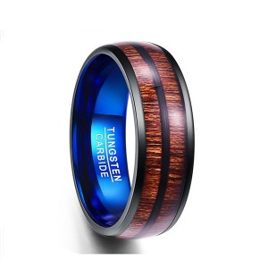 Wood Color Ring Double Slotted Wood Grain Blue Tungsten Men's Ring