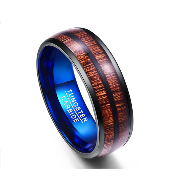 Wood Color Ring Double Slotted Wood Grain Blue Tungsten Men's Ring Featured Image
