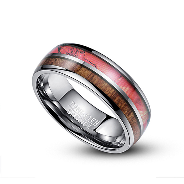 Special Design for Will Tungsten Rings Rust - Customized Double-Slotted Wood Grain Men's Tungsten Ring – Ouyuan