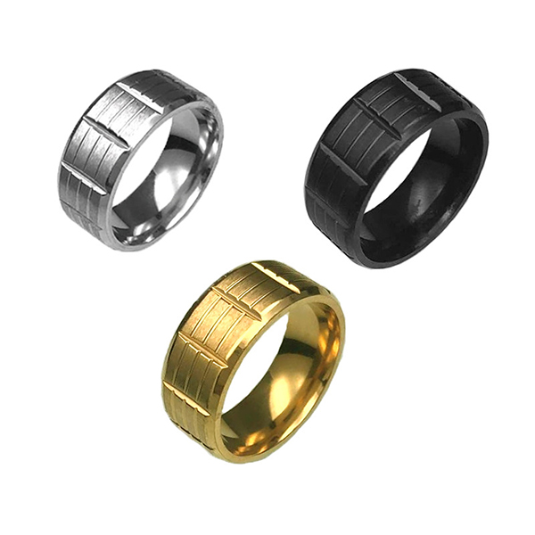 professional factory for Blue Tungsten Carbide Rings - Black Stainless Steel for Men Women Cool Wedding Bands Rings  – Ouyuan