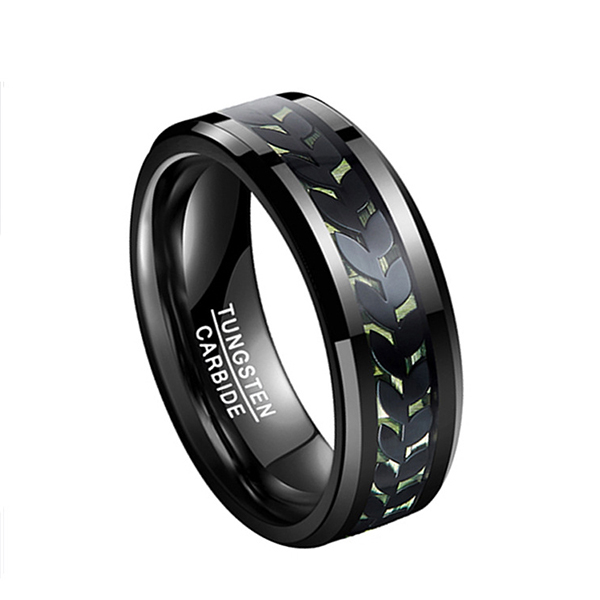 Men's Black Tungsten with Green Carbon Fiber Carved Leaf Pattern Ring Featured Image