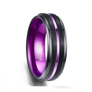 Plating Purple Middle Purple Slotted Line Black Tungsten Ring for Men