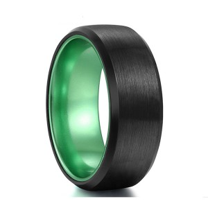 Green Plated with Beveled Edge Brushed Black Tungsten Steel Rings