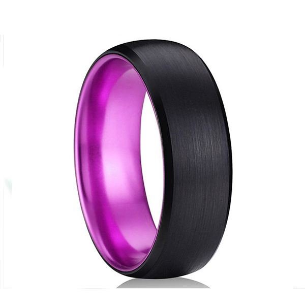 Classic Black Tungsten Ring with Purple Plating Inside for Hot Sell Featured Image