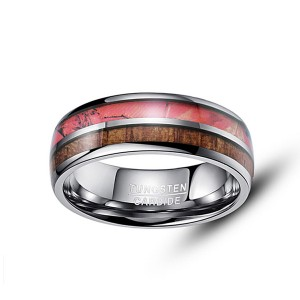 Customized Double-Slotted Wood Grain Men's Tungsten Ring