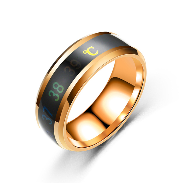 8mm Mens Rings Stainless Steel Temperature Monitor Ring Jewelry Colorful Digital Ring Featured Image