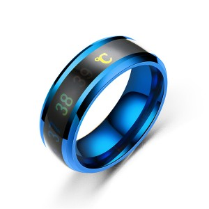 8mm Mens Rings Stainless Steel Temperature Monitor Ring Jewelry Colorful Digital Ring