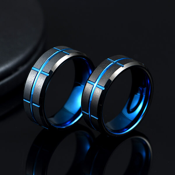 High reputation Tungsten Carbide Rings Philippines - Single New Design Black & Blue Plated Genuine Tungsten Carbide Rings – Ouyuan