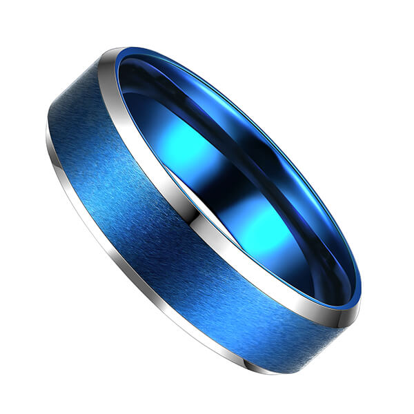Hot Selling for Italian Gold Wedding Rings - Blue Interior With Silver Beveled Edge Brushed Polished Tungsten Carbide Wedding Band Ring For Men – Ouyuan