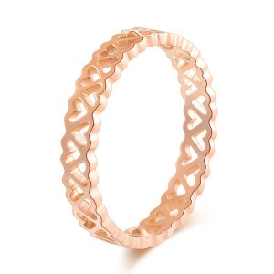 Classic Style Hollow-out Rose Gold Color Titanium Ring Ladies Fashion Rings