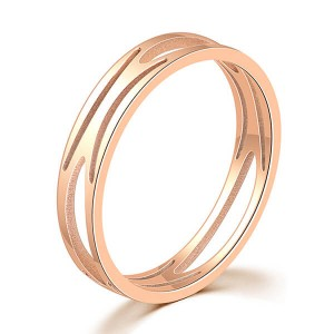 Women Silver Gold Rose Gold Plated Titanium Ring Engraving Customized Personalized