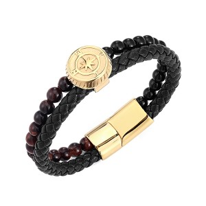 Original Factory Gold Plated Tungsten Ring - Gold Punk Alloy Leather Bracelet for Men Braided Rope Bracelet Bangle – Ouyuan