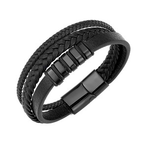 Stainless Steel Men's Multi-Strand Braided Leather Wheat Chain Bracelet with Magnetic Closure