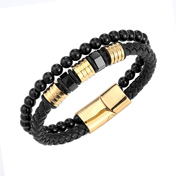 Fast delivery Tungsten Ring 9.5 - Black Obsidian Braided Leather Beads Bracelet with 316L Stainless Steel Magnetic Closure – Ouyuan Featured Image