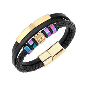 Stainless Steel Braided Leather Bracelet for Men Women Wristband Cuff Bangle Bracelet Magnetic Clasp