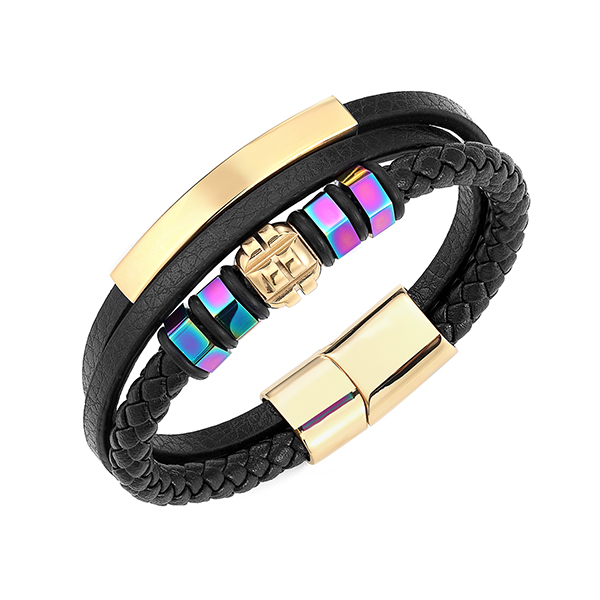 Best Price for Tungsten Carbide Rings Dealers - Stainless Steel Braided Leather Bracelet for Men Women Wristband Cuff Bangle Bracelet Magnetic Clasp – Ouyuan