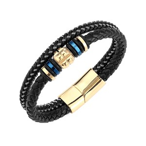 Best quality Rose Gold And Black Tungsten Ring - Premium Leather Bracelet for Men in Black Magnetic Stainless Steel Clasp in Black and Gold – Ouyuan