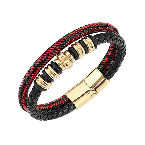 Mens Womens Hand-Made Multi-strand Black Red Braided Leather Bangle Bracelet Featured Image