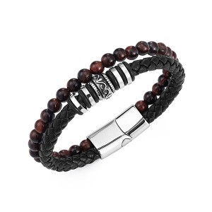 Reliable Supplier Wedding Rings Sterns - New Bracelet Bead and Leather Braided Bead Leather Bracelet for Men – Ouyuan