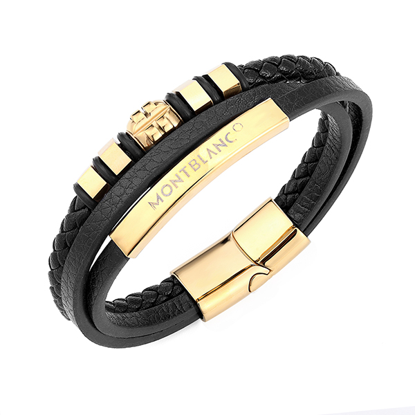 Best Price for Blue Tungsten Wedding Band - Mens Women Three-Strand Black Braided Leather Bracelet Bangle Wristband Steel Gold Ornaments – Ouyuan