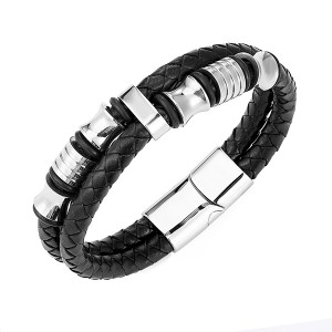 Mens Double-Row Black Braided Leather Bracelet Bangle Wristband with Black Stainless Steel Ornaments