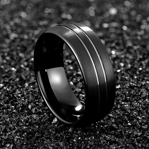 Factory Price Tungsten Ring Aliexpress - Men 8mm Black Tungsten Carbide Rings Polished Beveled Edge Double Groove Wedding Bands – Ouyuan