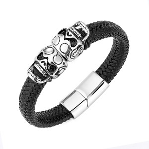 Customade Leather Bracelet Skull Bracelet For Men Stainless Steel Black Leather