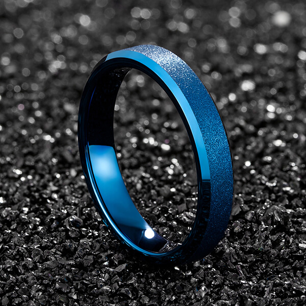 100% Original Factory Are Tungsten Carbide Rings Worth Anything - 4mm Spinner Ring Band for Men Women Tungsten Carbide ring blue color – Ouyuan