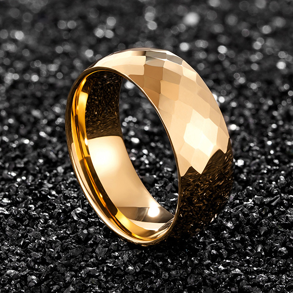 Factory Price For Tungsten Carbide Nickel Rings - 8mm Hammered gold plated men tungsten ring multi-faceted comfort fit – Ouyuan