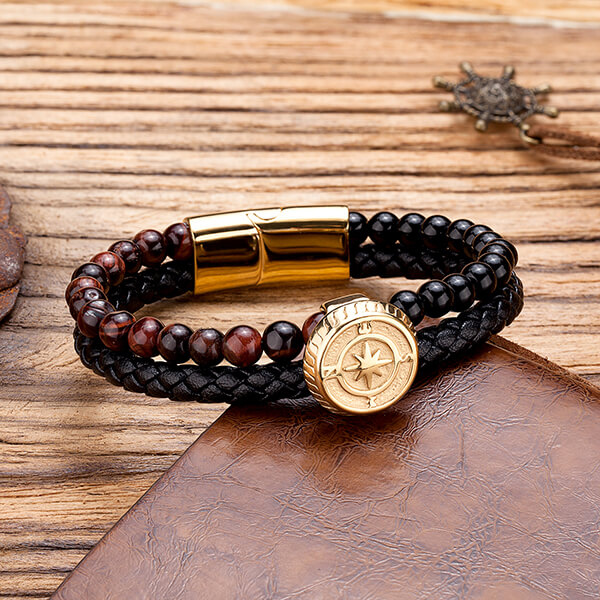 Original Factory Gold Plated Tungsten Ring - Gold Punk Alloy Leather Bracelet for Men Braided Rope Bracelet Bangle – Ouyuan detail pictures