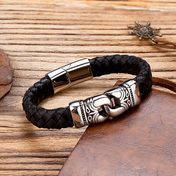 Manufacturer of Tungsten Ring Info - Stainless Steel Leather Bracelet Two-Tone Cowhide Viking Hammer Bangle Men – Ouyuan