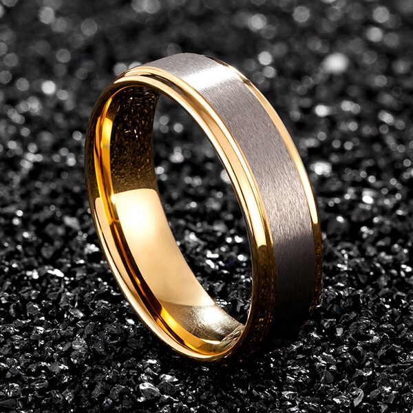 Factory Price Tungsten Ring Aliexpress - Womens Mens 6mm Matte Brushed Tungsten Carbide Ring 18K Yellow Gold Wedding Band Comfort Fit – Ouyuan