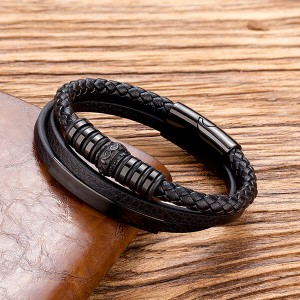 3 Layer Cuff Bracelet Magnetic Steel Punk Style Leather Bracelet Jewelry Gifts for Men