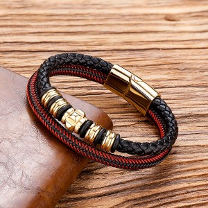 Mens Womens Hand-Made Multi-strand Black Red Braided Leather Bangle Bracelet