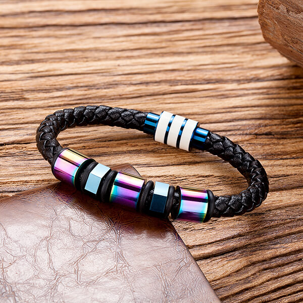 New Arrival China Enamel Tungsten Ring - Stainless Steel Braided Leather Bracelet for Men Cuff Bracelet Magnetic Clasp – Ouyuan