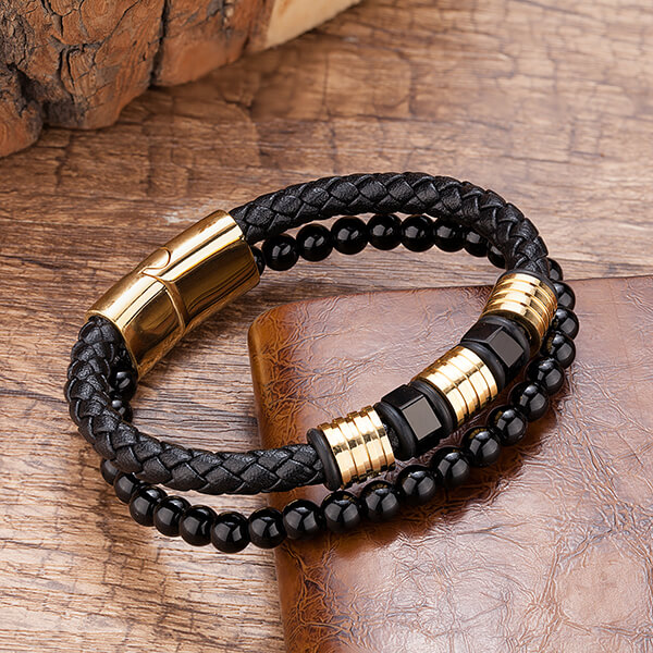 Fast delivery Tungsten Ring 9.5 - Black Obsidian Braided Leather Beads Bracelet with 316L Stainless Steel Magnetic Closure – Ouyuan