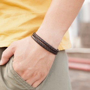 Men's Two-Strand Braided High Quality Leather Wheat Chain Bracelet with Magnetic Closure