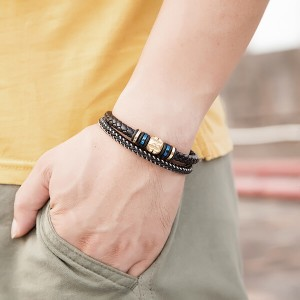 Premium Leather Bracelet for Men in Black Magnetic Stainless Steel Clasp in Black and Gold